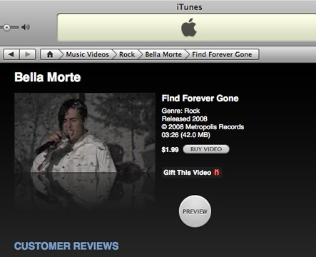 Find Forever Gone video on iTunes